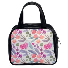 Purple And Pink Cute Floral Pattern Classic Handbags (2 Sides)
