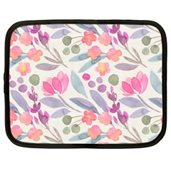 Purple And Pink Cute Floral Pattern Netbook Case (xxl)