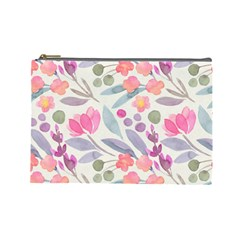 Purple And Pink Cute Floral Pattern Cosmetic Bag (large)