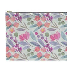 Purple And Pink Cute Floral Pattern Cosmetic Bag (xl)