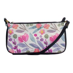 Purple And Pink Cute Floral Pattern Shoulder Clutch Bags