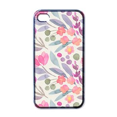 Purple And Pink Cute Floral Pattern Apple Iphone 4 Case (black)