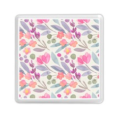 Purple And Pink Cute Floral Pattern Memory Card Reader (square)