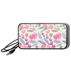 Purple And Pink Cute Floral Pattern Portable Speaker
