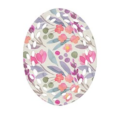 Purple And Pink Cute Floral Pattern Ornament (oval Filigree)