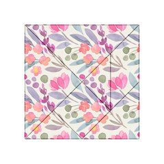 Purple And Pink Cute Floral Pattern Acrylic Tangram Puzzle (4  X 4 )