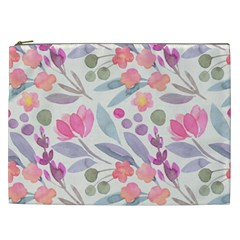 Purple And Pink Cute Floral Pattern Cosmetic Bag (xxl)