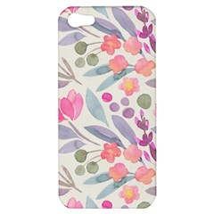 Purple And Pink Cute Floral Pattern Apple Iphone 5 Hardshell Case
