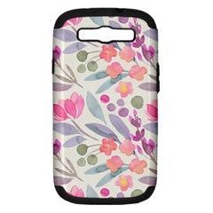 Purple And Pink Cute Floral Pattern Samsung Galaxy S Iii Hardshell Case (pc+silicone)