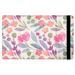 Purple And Pink Cute Floral Pattern Apple Ipad 2 Flip Case