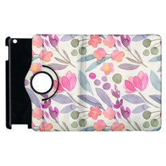 Purple And Pink Cute Floral Pattern Apple Ipad 2 Flip 360 Case