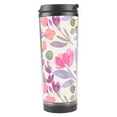 Purple And Pink Cute Floral Pattern Travel Tumbler