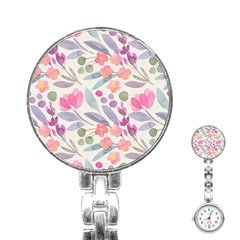 Purple And Pink Cute Floral Pattern Stainless Steel Nurses Watch