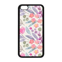 Purple And Pink Cute Floral Pattern Apple Iphone 5c Seamless Case (black)