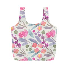 Purple And Pink Cute Floral Pattern Full Print Recycle Bags (m)