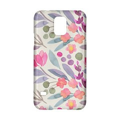 Purple And Pink Cute Floral Pattern Samsung Galaxy S5 Hardshell Case