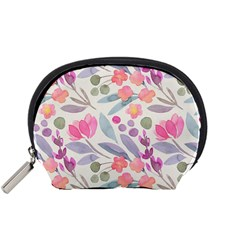 Purple And Pink Cute Floral Pattern Accessory Pouches (small)