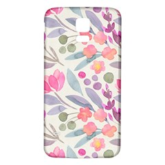 Purple And Pink Cute Floral Pattern Samsung Galaxy S5 Back Case (white)