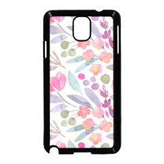 Purple And Pink Cute Floral Pattern Samsung Galaxy Note 3 Neo Hardshell Case (black)