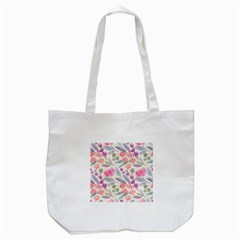 Purple And Pink Cute Floral Pattern Tote Bag (white)