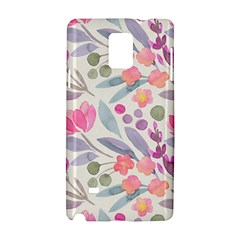 Purple And Pink Cute Floral Pattern Samsung Galaxy Note 4 Hardshell Case