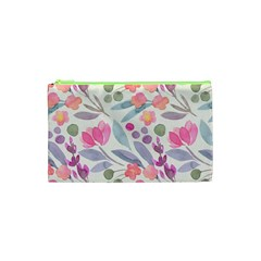 Purple And Pink Cute Floral Pattern Cosmetic Bag (xs)