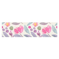 Purple And Pink Cute Floral Pattern Satin Scarf (oblong)