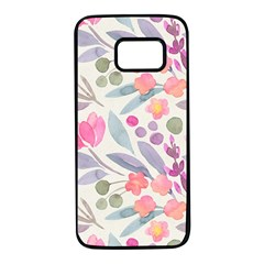 Purple And Pink Cute Floral Pattern Samsung Galaxy S7 Black Seamless Case