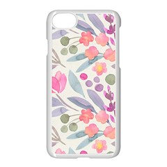 Purple And Pink Cute Floral Pattern Apple Iphone 7 Seamless Case (white)