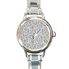 Elio s Shirt Faces In Black Outlines On White Round Italian Charm Watch