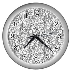 Elio s Shirt Faces In Black Outlines On White Wall Clocks (silver)