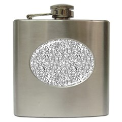 Elio s Shirt Faces In Black Outlines On White Hip Flask (6 Oz)