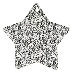 Elio s Shirt Faces In Black Outlines On White Star Ornament (two Sides)