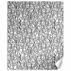 Elio s Shirt Faces In Black Outlines On White Canvas 16  X 20