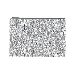 Elio s Shirt Faces In Black Outlines On White Cosmetic Bag (large)