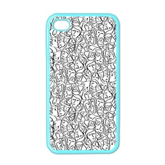 Elio s Shirt Faces In Black Outlines On White Apple Iphone 4 Case (color)