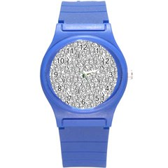 Elio s Shirt Faces In Black Outlines On White Round Plastic Sport Watch (s)