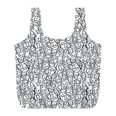 Elio s Shirt Faces In Black Outlines On White Full Print Recycle Bags (l)