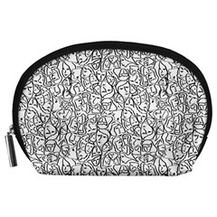 Elio s Shirt Faces In Black Outlines On White Accessory Pouches (large)