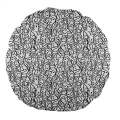 Elio s Shirt Faces In Black Outlines On White Large 18  Premium Flano Round Cushions