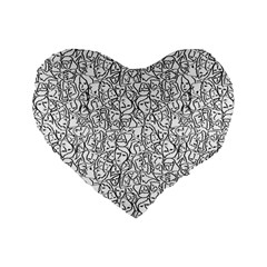 Elio s Shirt Faces In Black Outlines On White Standard 16  Premium Flano Heart Shape Cushions