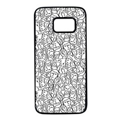 Elio s Shirt Faces In Black Outlines On White Samsung Galaxy S7 Black Seamless Case