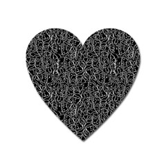 Elio s Shirt Faces In White Outlines On Black Crying Scene Heart Magnet