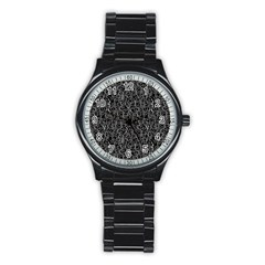 Elio s Shirt Faces In White Outlines On Black Crying Scene Stainless Steel Round Watch