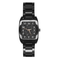 Elio s Shirt Faces In White Outlines On Black Crying Scene Stainless Steel Barrel Watch