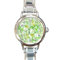Light Floral Collage  Round Italian Charm Watch