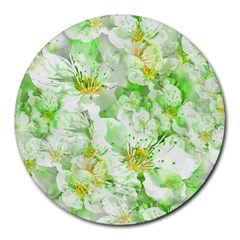Light Floral Collage  Round Mousepads
