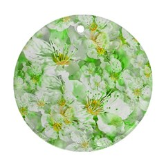 Light Floral Collage  Ornament (round)