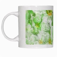 Light Floral Collage  White Mugs