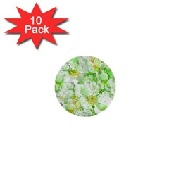Light Floral Collage  1  Mini Buttons (10 Pack)